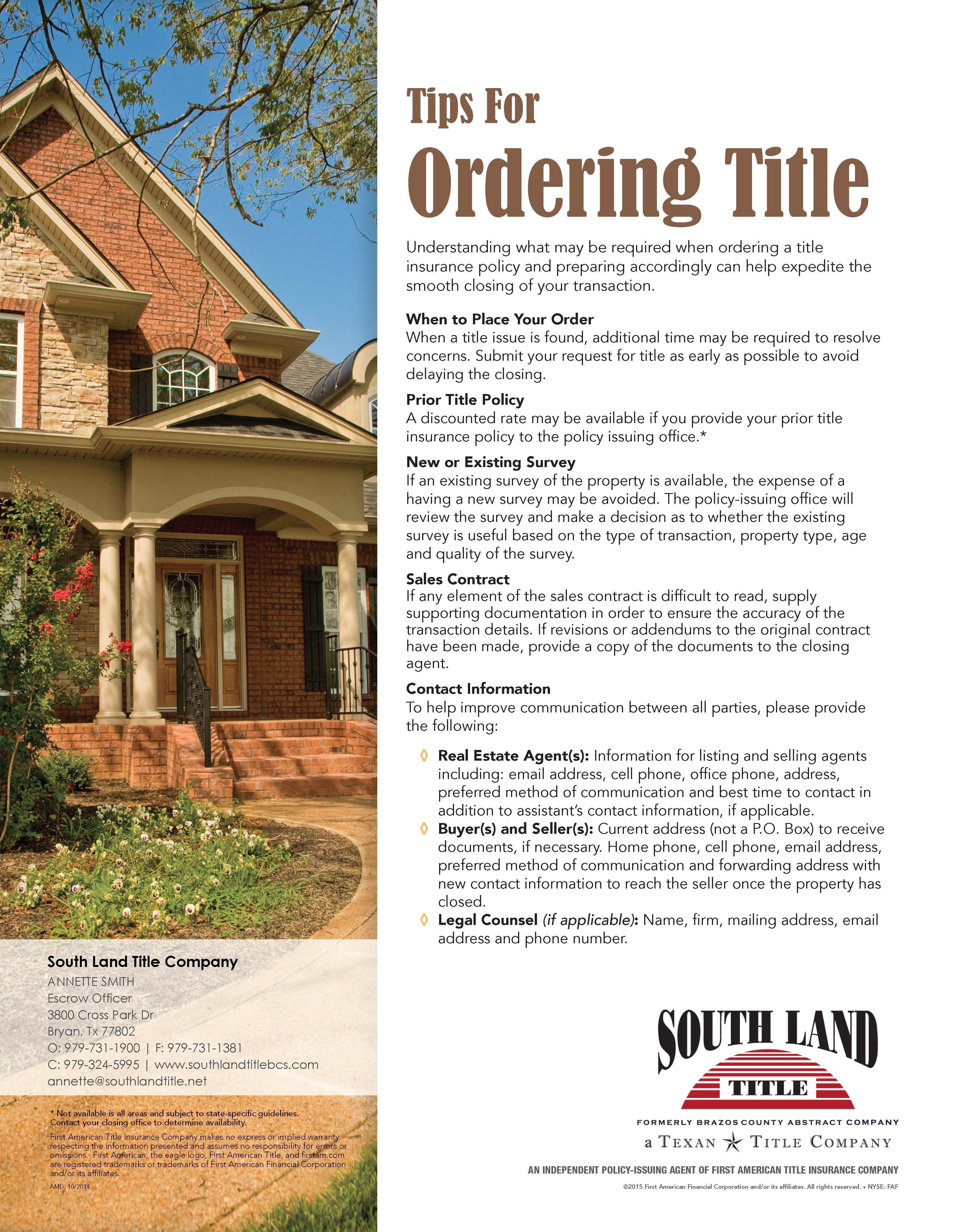 Good Information Please Visit Us At Www Southlandtitlebcs Com
