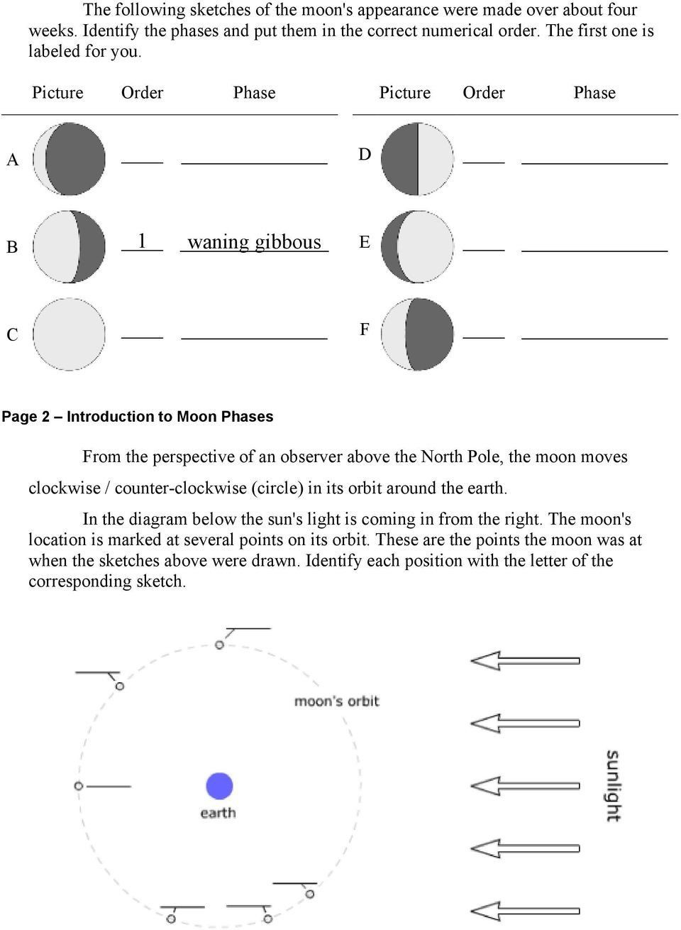 9 Best Images Of Moon Phases Worksheet Answer Key Manual Guide
