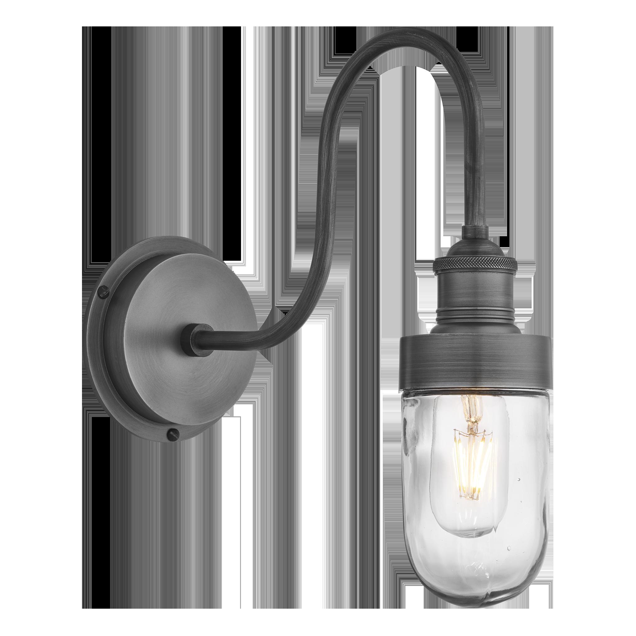 Wall Light Outdoor Lantern Glass Diffuser Black wall down lantern glow swan neck