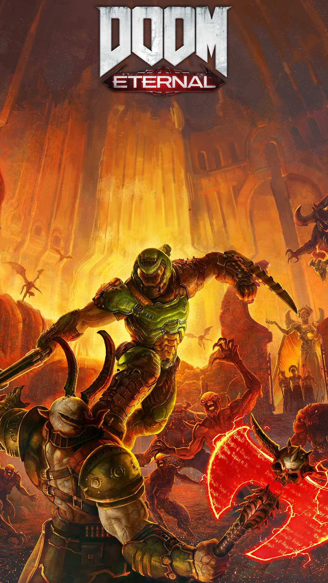 Doom Eternal Wallpaper Hd Phone Backgrounds Game Logo Art Monsters On Iphone Android Lock Screen In 2020 Hd Phone Backgrounds Doom Gaming Wallpapers