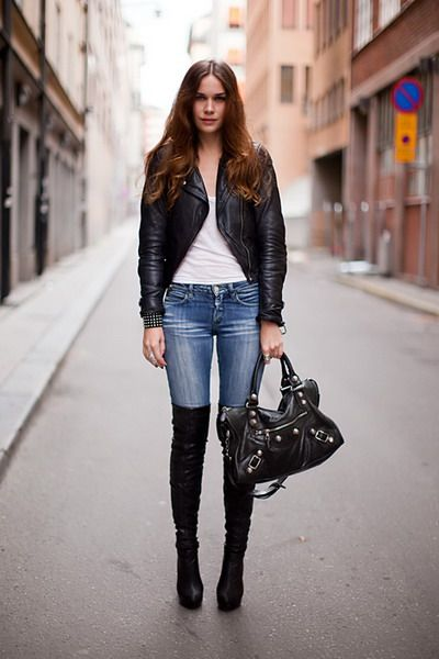 How To Wear Over The Knee Boots With Jeans High tight boots and ...
