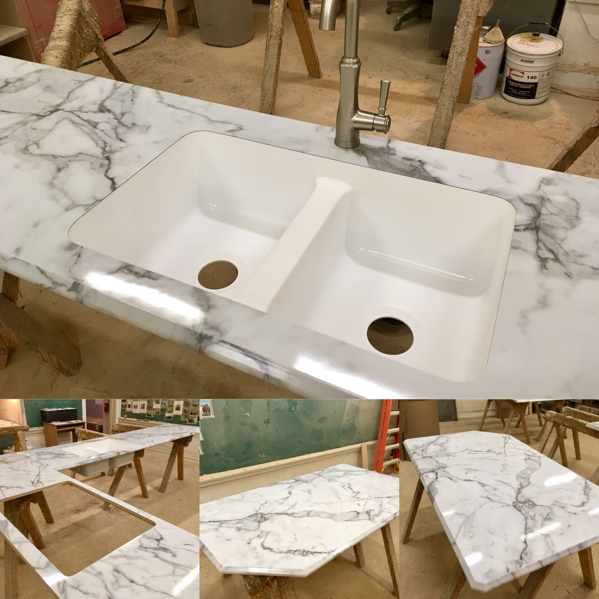 Another Poney S Custom Laminate Countertop Completed This Is Calcutta Marble In A Gloss Finish Ogee Ideal Ed Calcutta Marble Countertops Laminate Countertops