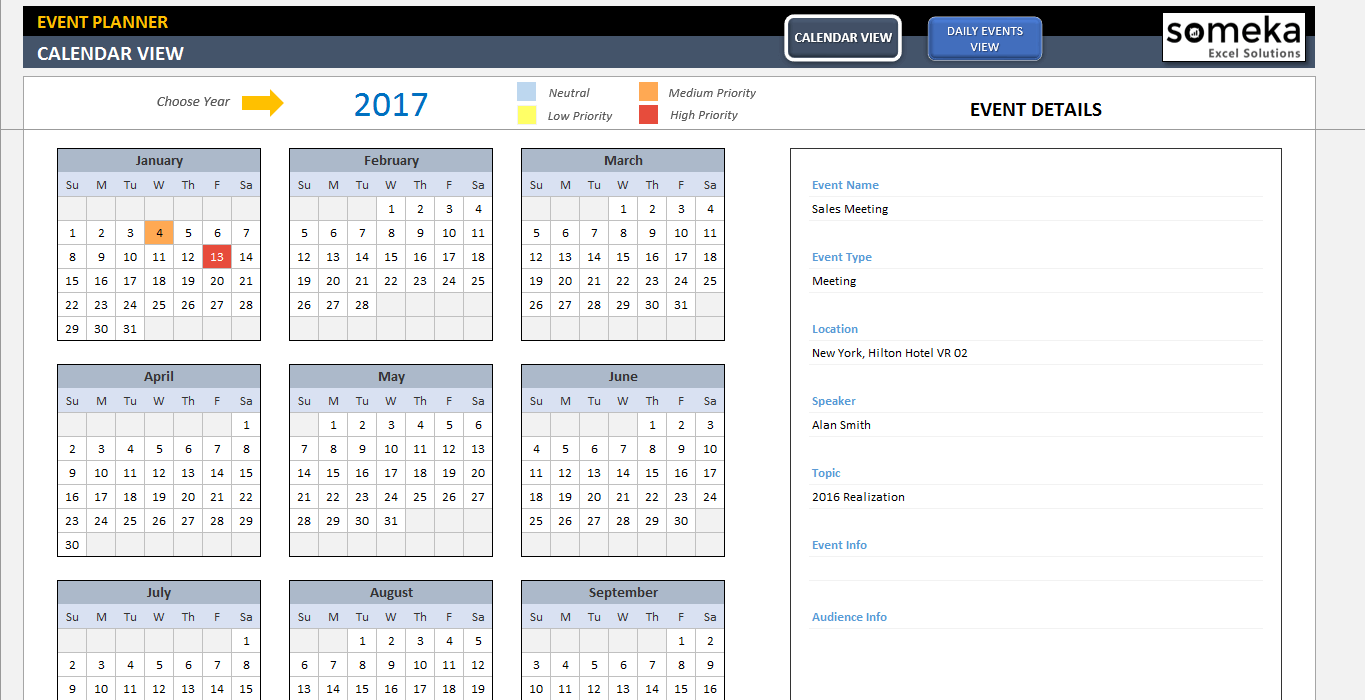 Dynamic Event Calendar  Interactive Excel Tempate  Event