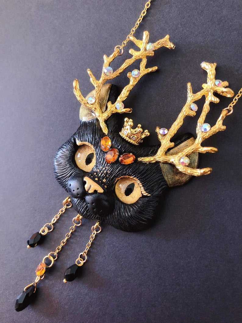 Photo of PREORDER- Golden Forest Prince cat necklace – black cat with gems …