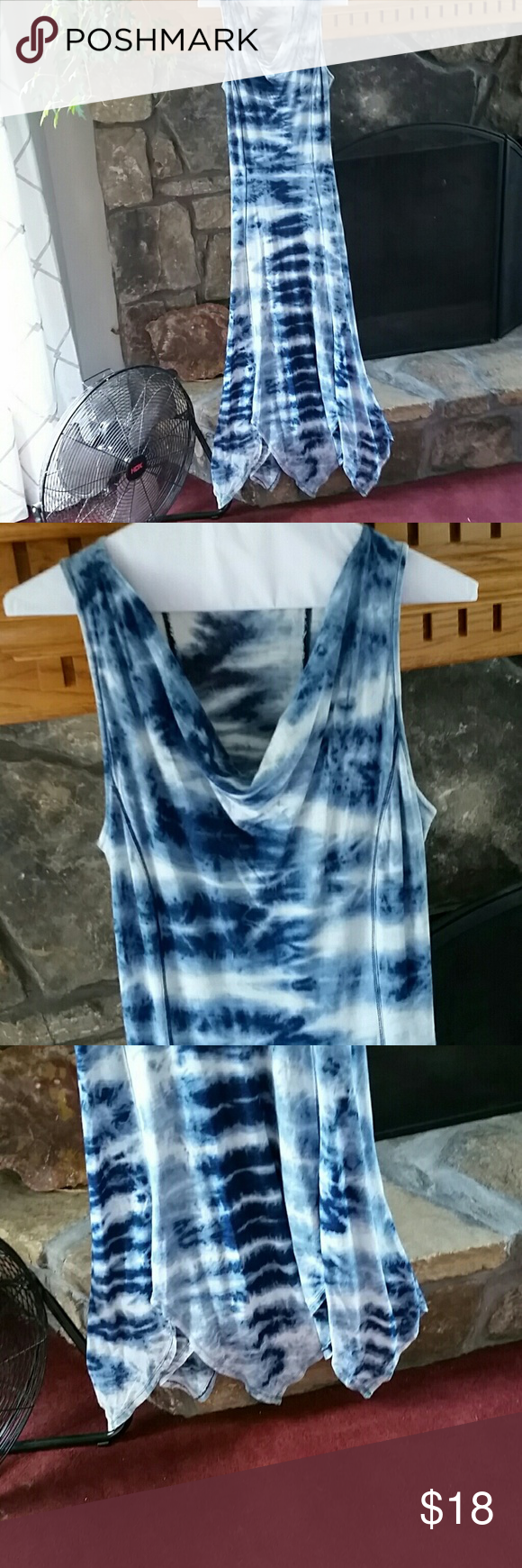 """Maxi dress Blue  and white tie dye. Drape collar.  Hi-lo hem.  Slightly fitted at waist then full and flowy.  Approximately 60"""" long. mind set Dresses Maxi"""