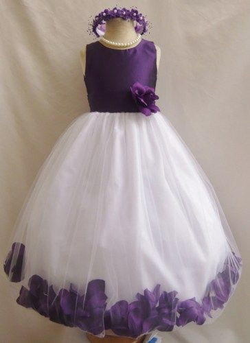 Flower Girl Dress PURPLE PETAL Wedding Children Easter Bridesmaid Communion d9e411f25