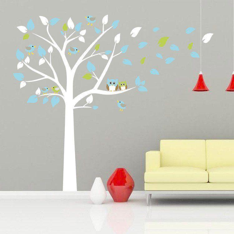 Owl White Tree Wall Sticker