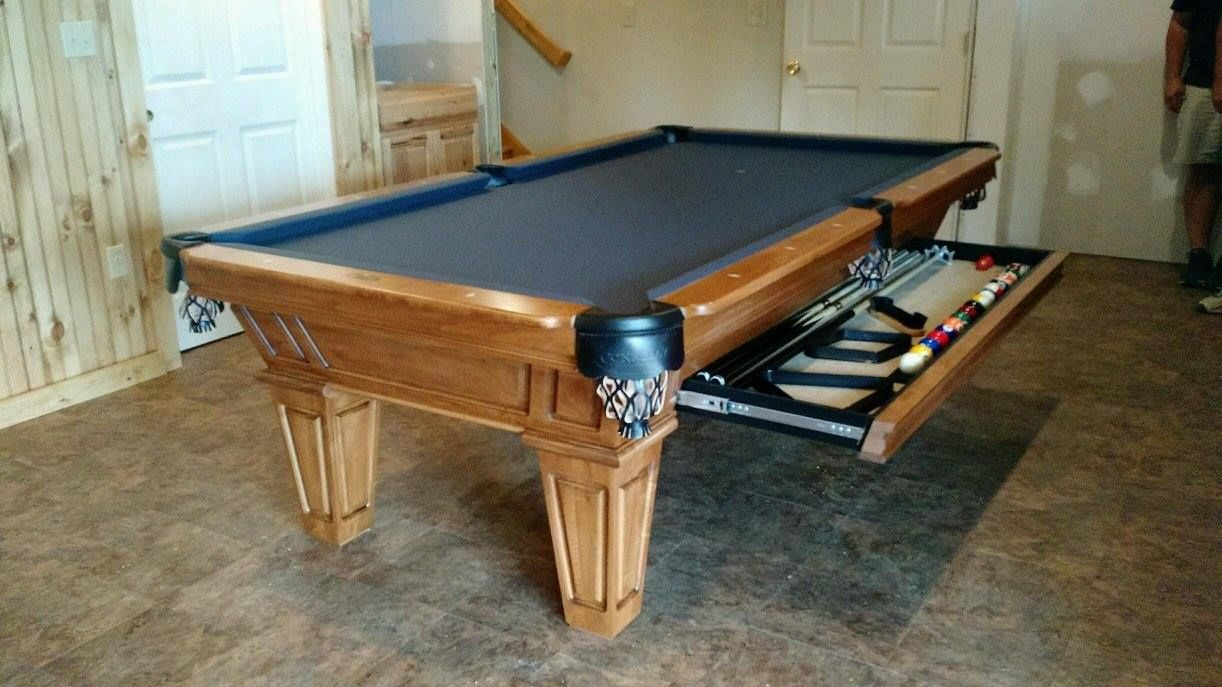 Connelly Cochise Pool Table Highlighting The Accessory Drawer Option, Shown  In Late Harvest On Maple