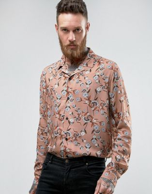 ASOS Regular Fit Viscose Shirt With Revere Collar And Floral Print