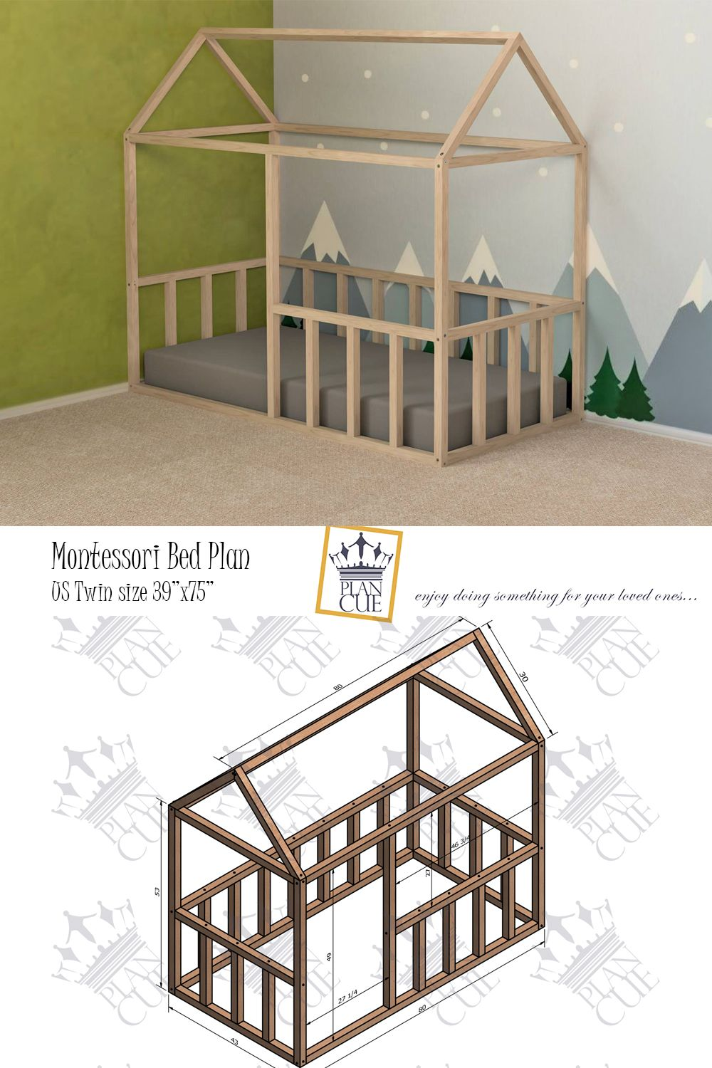 Montessori House Bed Plan Us Twin Size Bed Frame Easy And