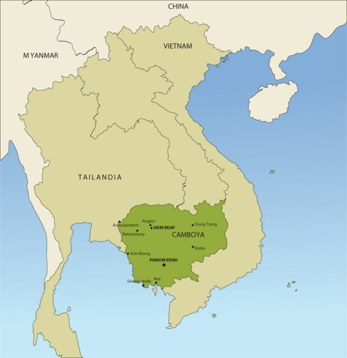 Mapa Camboya Camboya Laos Y Vietnam