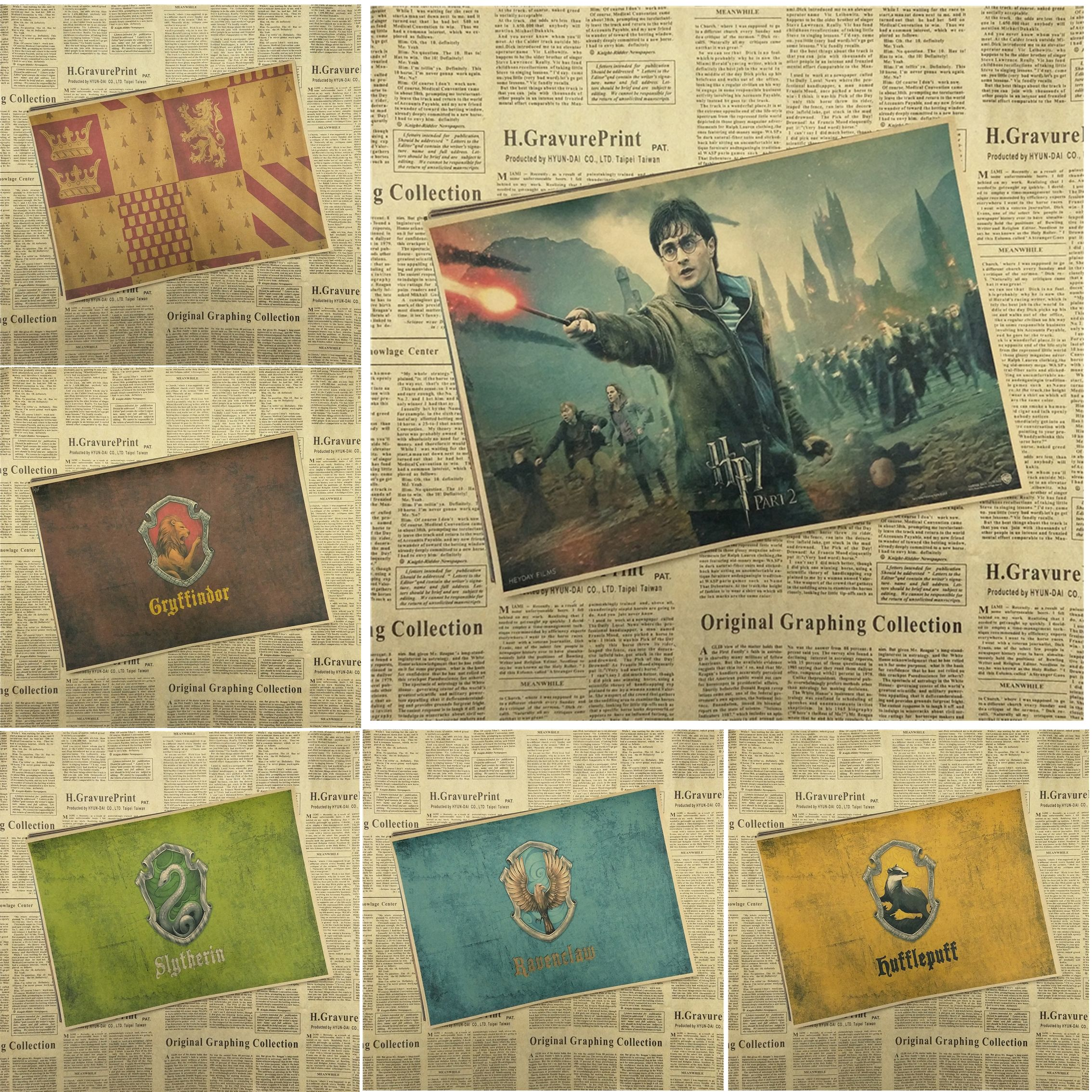 Harry Potter  Drawing core  Classic Movie Kraft Paper Poster Bar Cafe Living Room Dining room Wall Decorative Paintings //Price: $5.99 & FREE Shipping //     #hashtag1