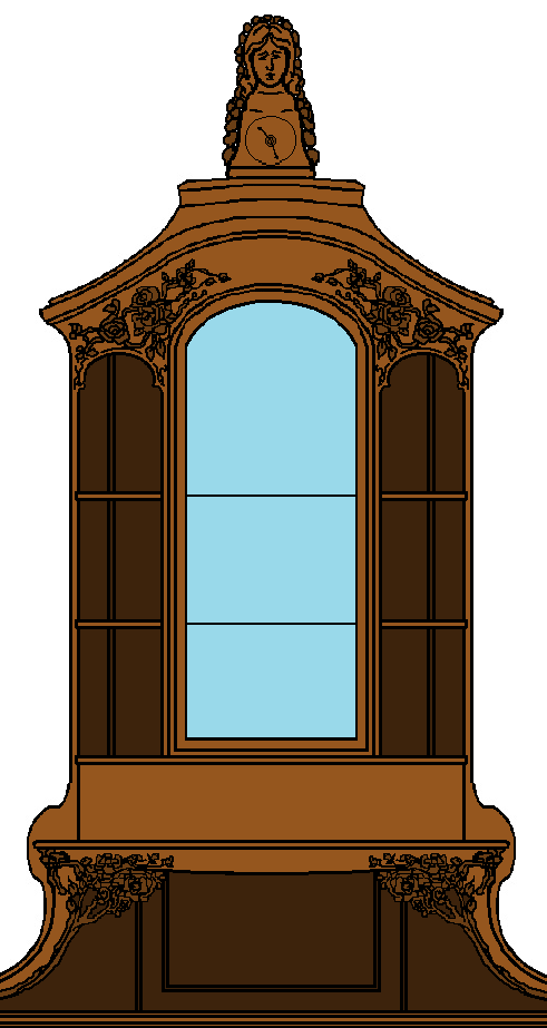 A cropping of the Windows Paint rendering I did of the bespoke maple-wood cabinet and cosy-corner for the Maple Drawing-Room. This shows more the detail of the sculpted German cabbage-roses and vines as well as the clock with the figure of a woman in veil atop the cabinet. **PLEASE** Do not take as your own! Credit accordingly. Thank-you!!