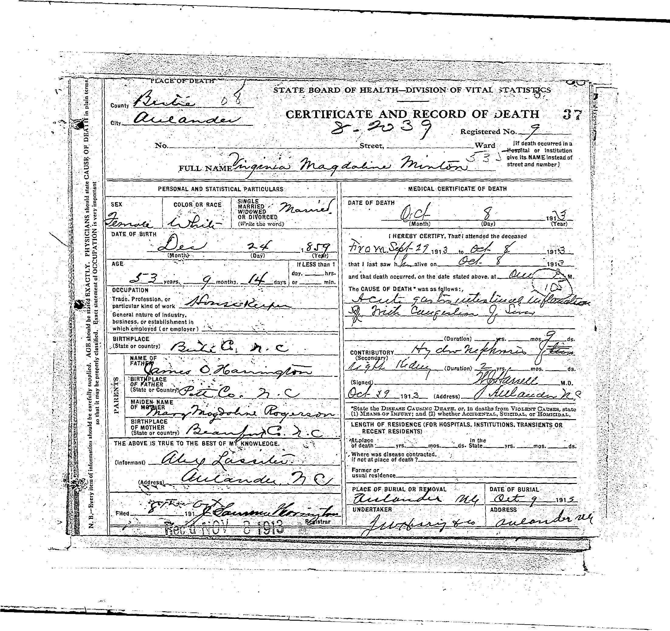 Death Certificate For Virginia Magdaline Harrington Minton My