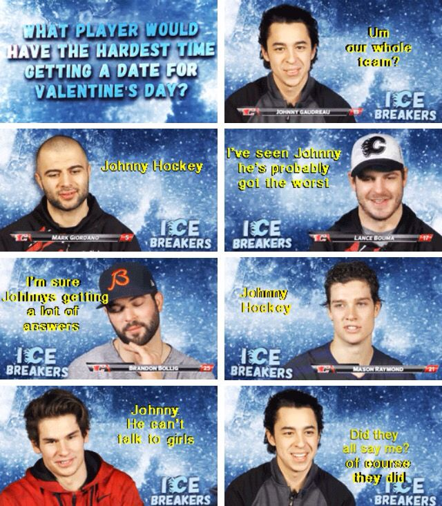 Johnny Hockey can't talk to girls. (Valentins Day Meme Fun)