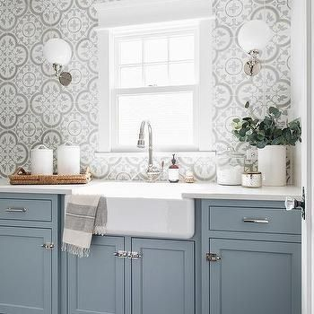 Gray Slate Floor with Blue Laundry Room Cabinets - Transitional - Laundry Room #graylaundryrooms