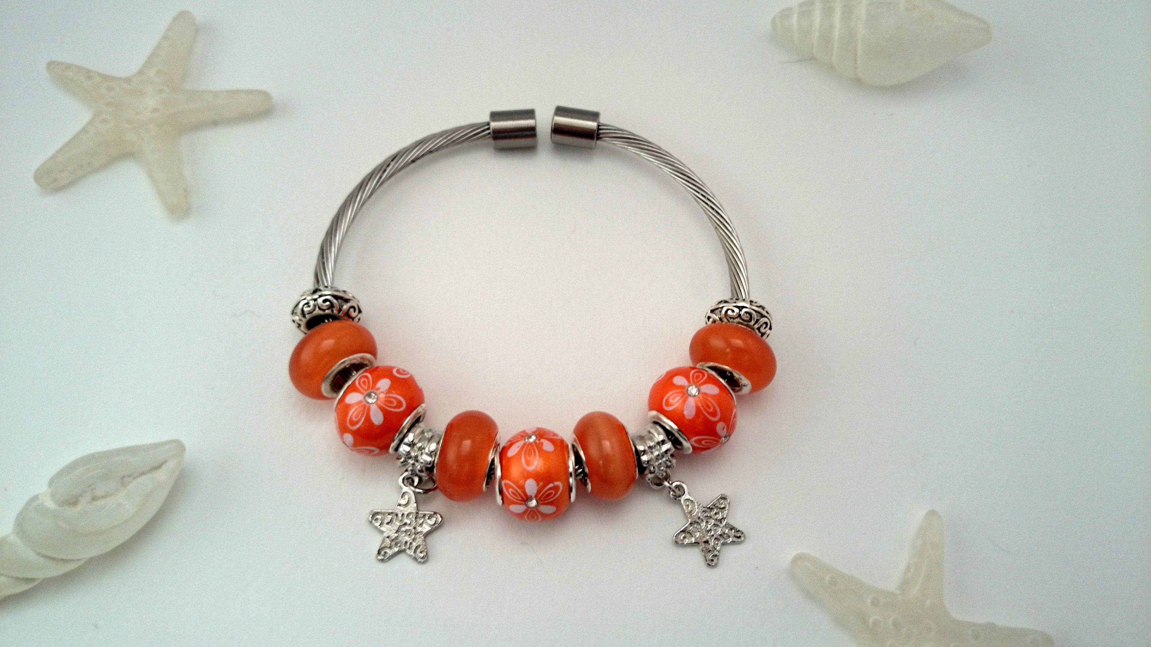 bracelet charm's rigide orange