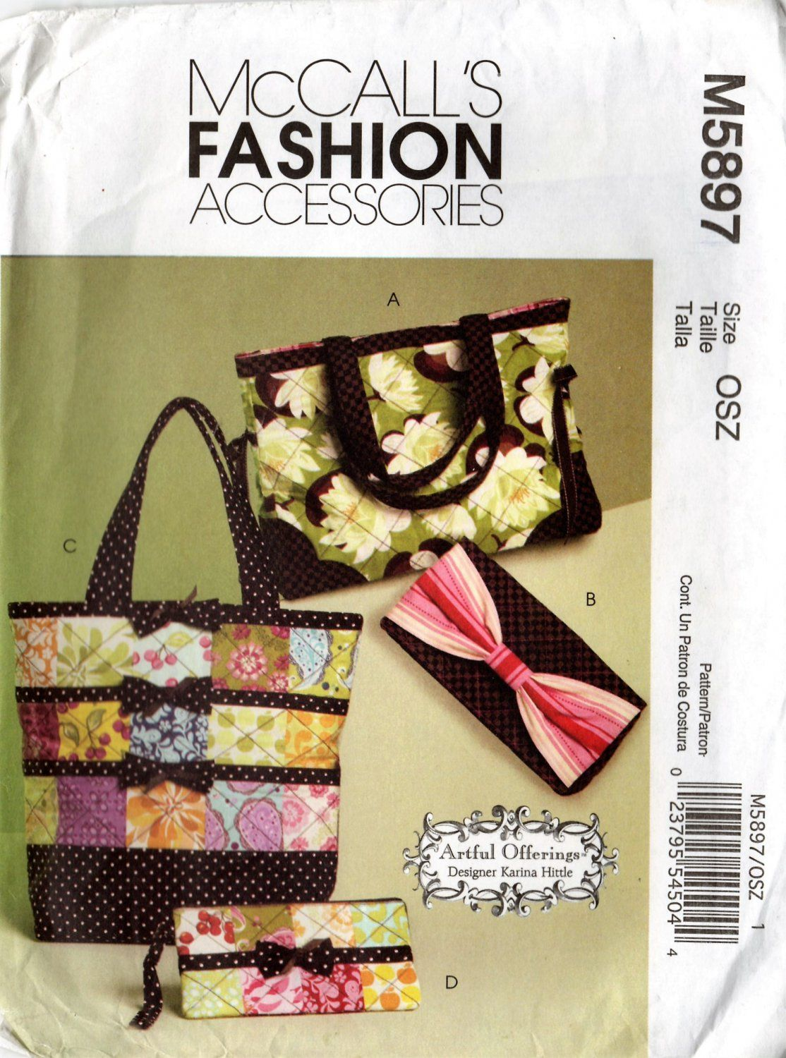 Mccall S M5897 5897 Set Of 4 Totes And Bags Sewing Pattern With
