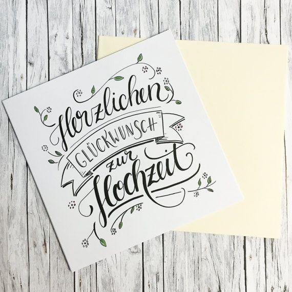 Herzlichen Gluckwunsch Zur Hochzeit Handlettering Grusskarte