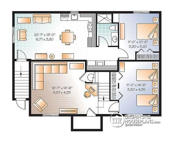 Discover The Plan 3117 V2 Killarney 3 Which Will Please You For Its 1 2 3 Bedrooms And For Its Craftsman Northwest Styles Basement House Plans Basement Apartment Bungalow House Floor Plans