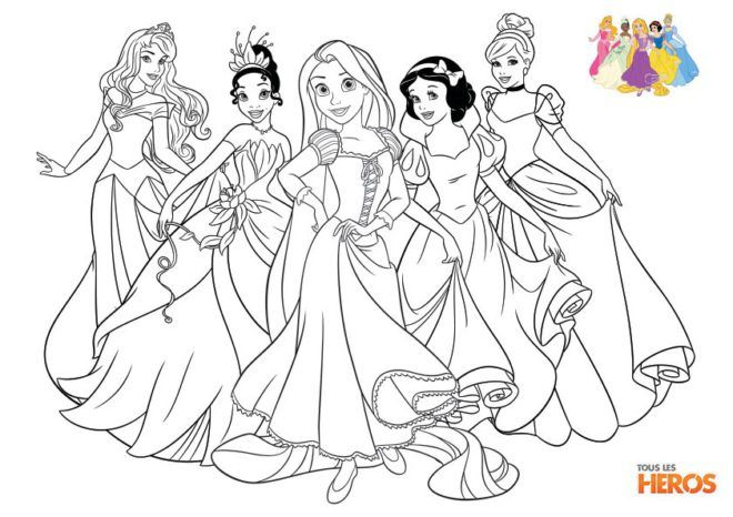 Coloriages disney princesses aurore tiana raiponce - Cahier de coloriage disney ...