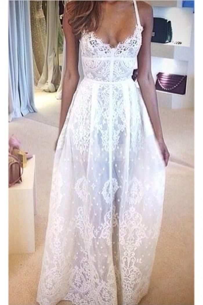 Light Flowing A-line Spaghetti Straps Lace Wedding Dress