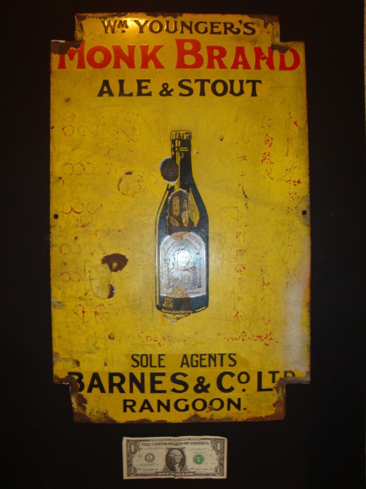 Monk Brand Ale Stout was produced byWilliam Younger's Abbey Brewery in Edinburgh, which closed in 1956 after a merger to become Scottish and Newcastle Breweries (see scan).
