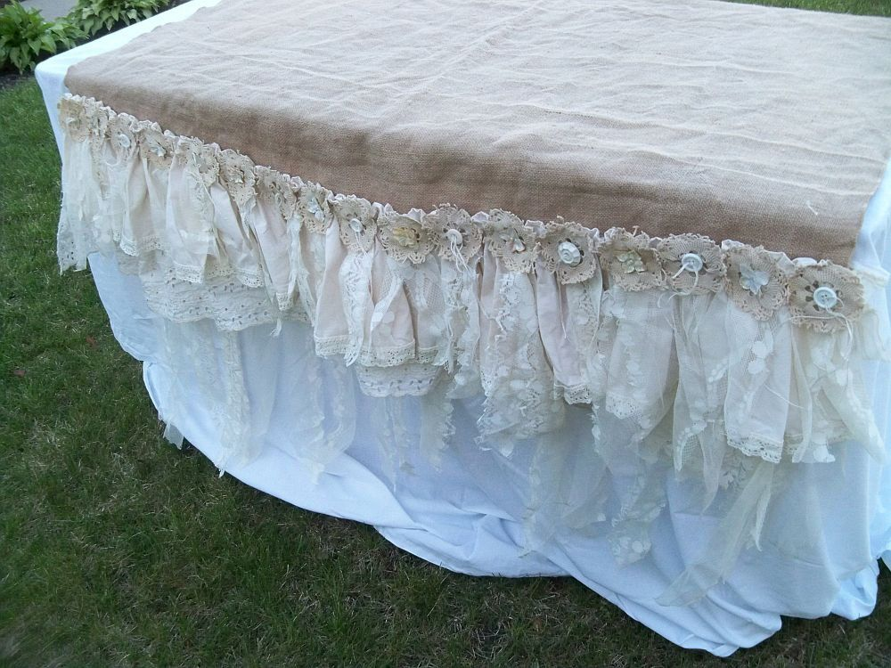 Charmant Burlap And Lace Table Cloth   Google Search
