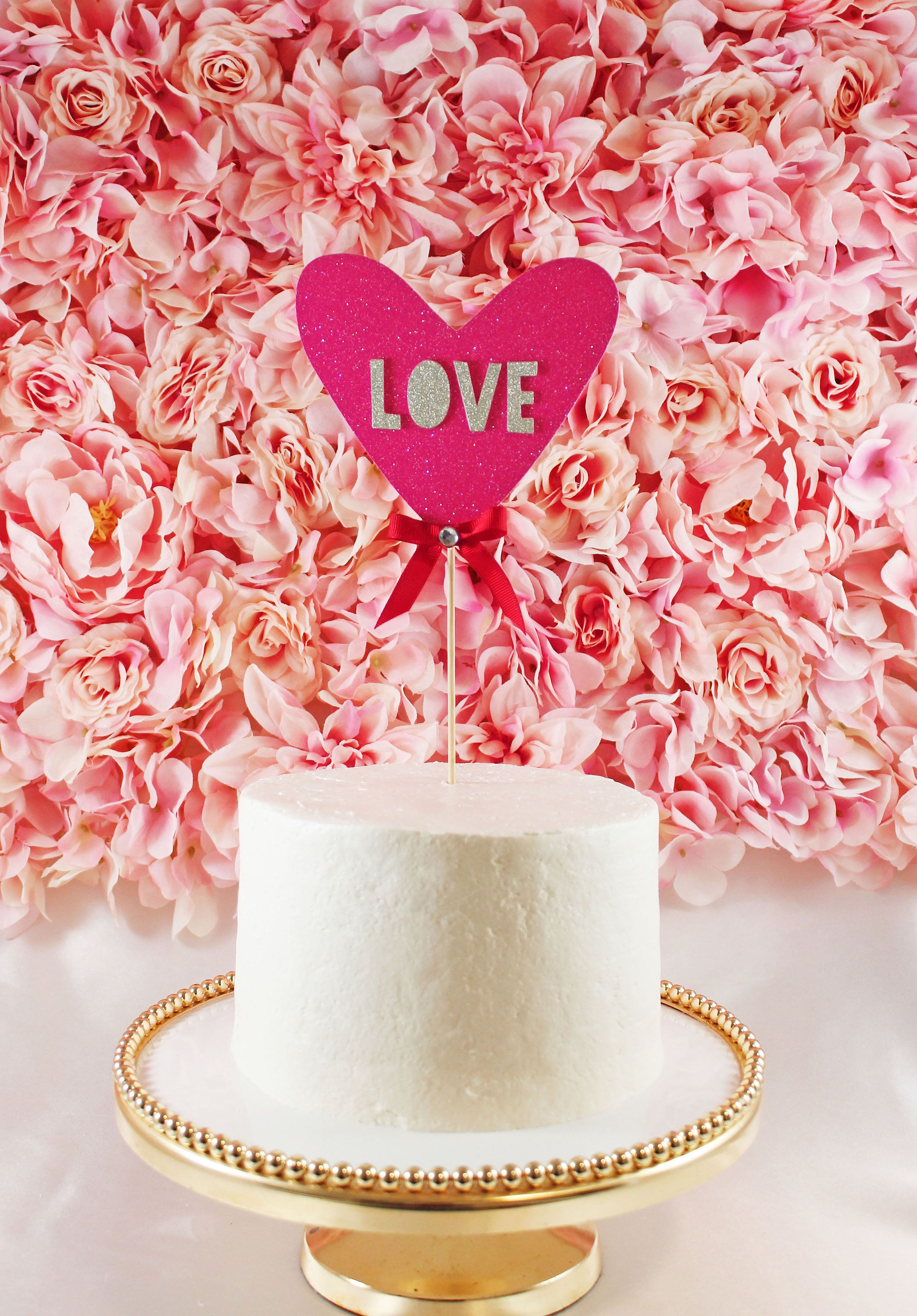 Heart Shape with \'Love\' Cake Topper – Valentine\'s Day Cake topper ...