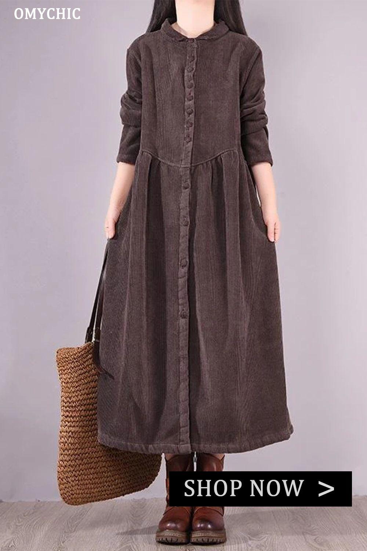 Trendy Spring Thicken Warm Corduroy Dress In 2021 Long Sleeve Cotton Dress Wool Coat Women Vintage Dresses Online [ 1500 x 1000 Pixel ]