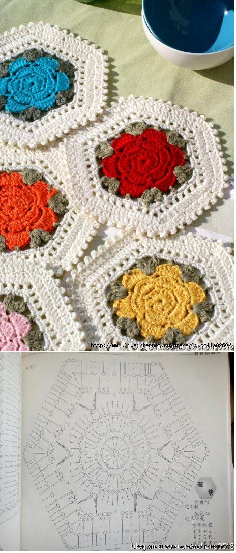 Bela Flor Hexágono - Tanto potencial de Crochê. / Beautiful Flower ...