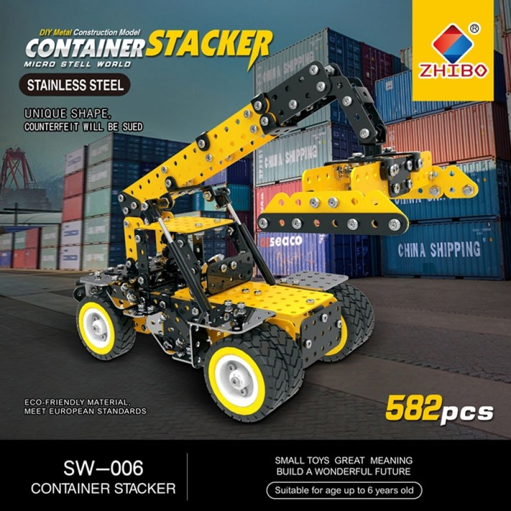 582pcs stainless steel crane building blocks diy 3d metal