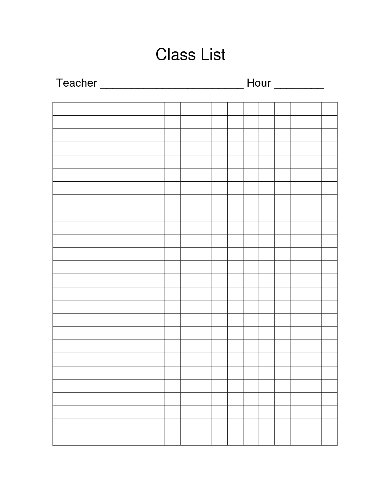 Free Printable Class List Template