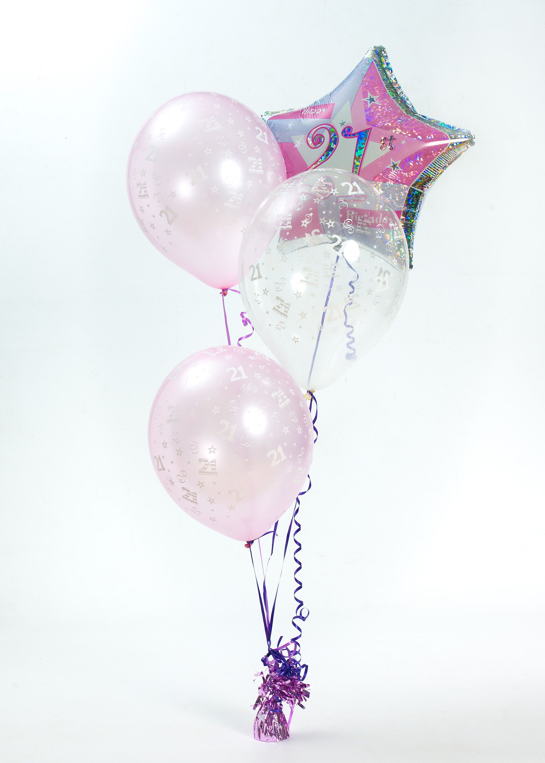 Pink And Silver Star Shaped 21st Birthday Balloon With 2 Light Balloons One Clear