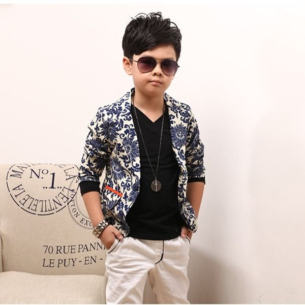e0042174d Fashion Kids Boys Jacket Coat Blue and white Porcelain Printed Suit ...