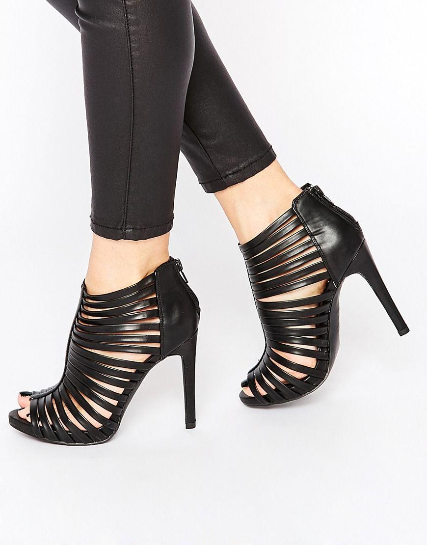 b9ec8051a Sandalias de tacón negras tipo jaula de New Look | Zapatos ...