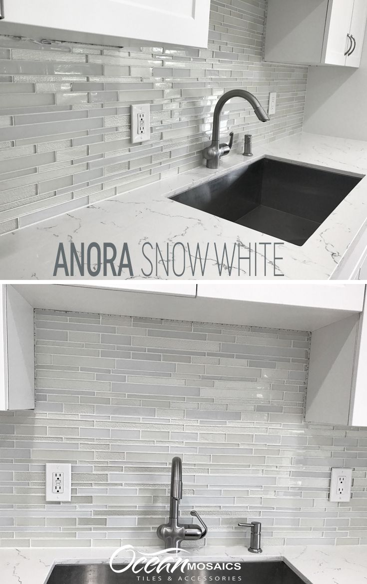 Anora Snow White Mosaic Glass Tile Glass Backsplash Kitchen