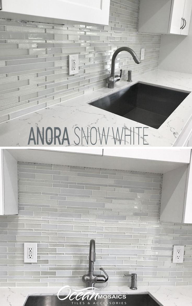 Anora Snow White Mosaic Glass Tile Glass Backsplash Kitchen Glass Tile Backsplash Kitchen White Kitchen Backsplash