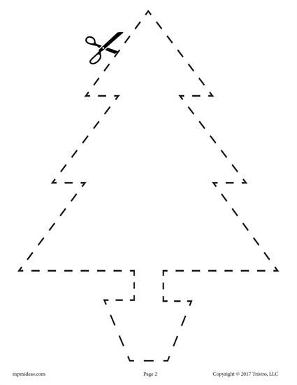 10 Printable Christmas Shapes Cutting Worksheets Classroom