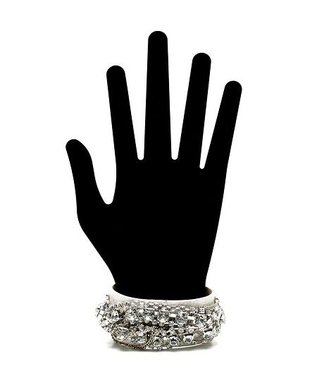 Glam Rock Vegan Leather Cuff - White  $9