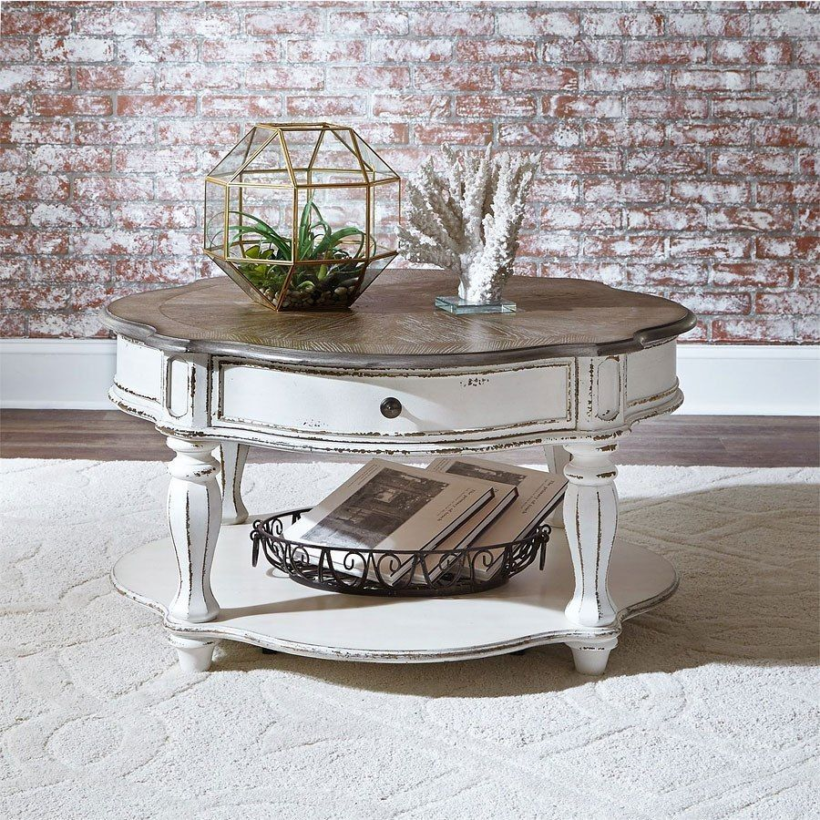 Magnolia Manor Round Cocktail Table Coffee Table Farmhouse Liberty Furniture Rustic Coffee Tables [ 900 x 900 Pixel ]