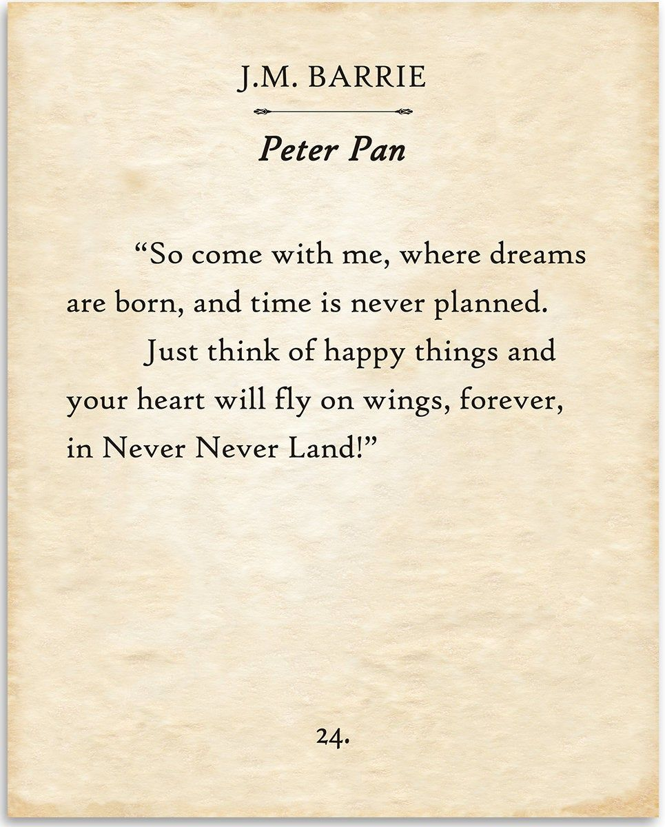 Peter Pan - So Come With Me Where Dreams Are Born - J.M. Barrie - 11x14 Unframed Typography Book Page Print - Great Gift & Decor