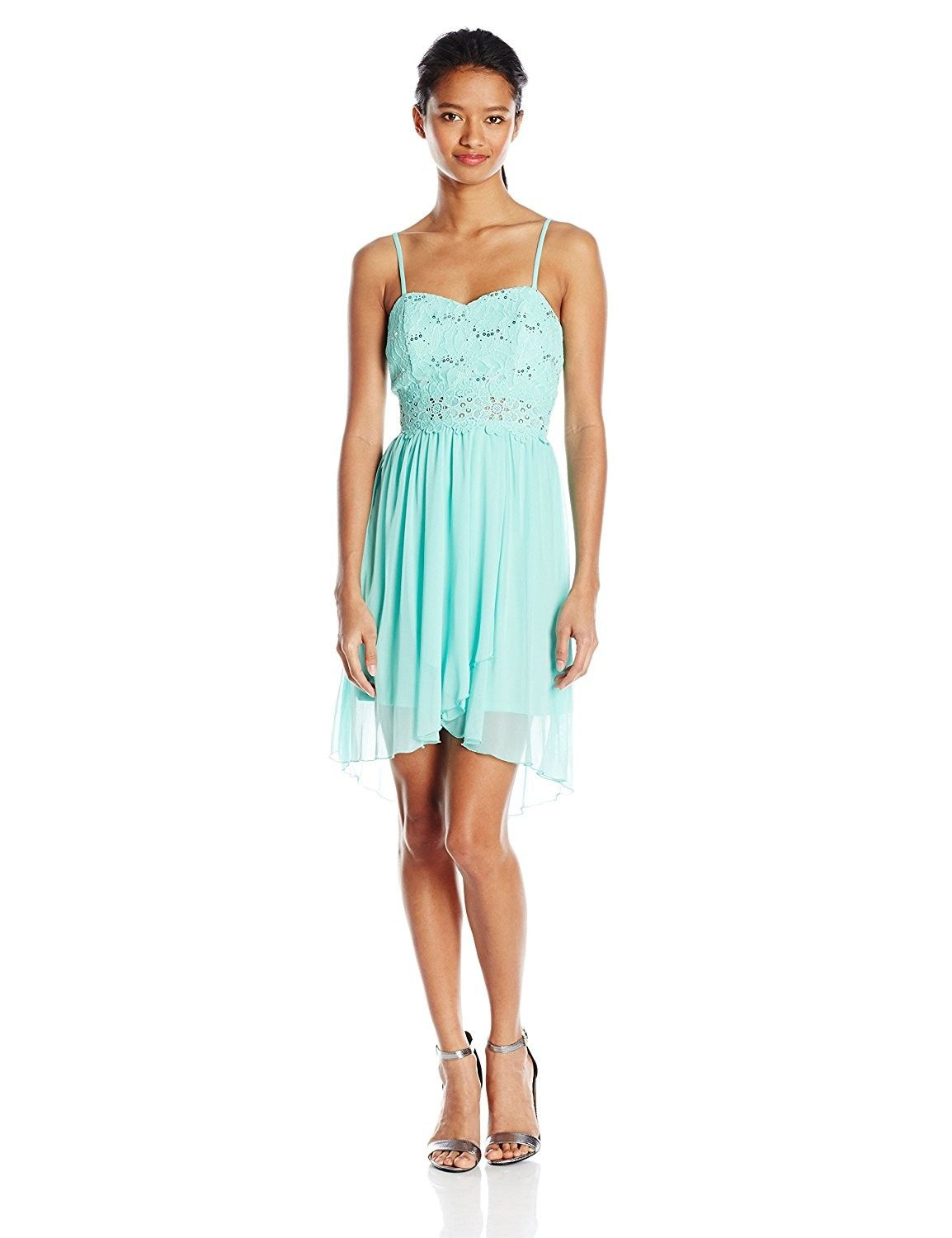 5ef8a156989 A. Byer Junior s Strappy Sweetheart Hi Lo Prom Dress - Blue ...