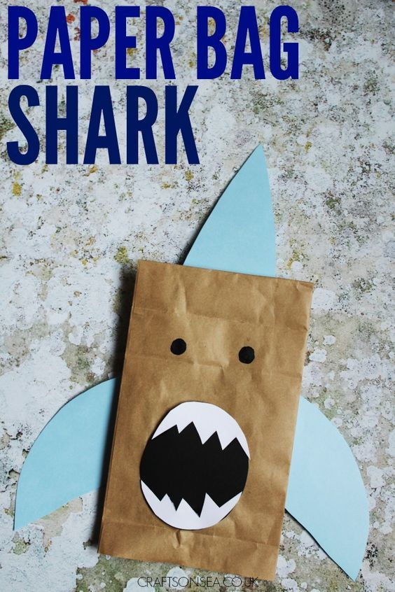 Paper Bag Shark Craft Shark Craft Paper Bag Crafts Shark Week