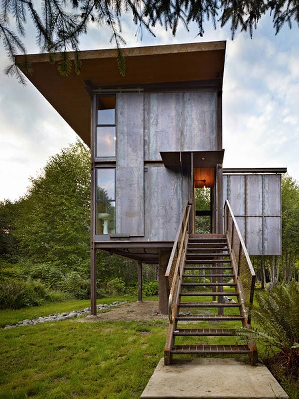 Entry view of Tom Kundig's latest woodland sentry; |Shared by: Sparano+Mooney Architecture Los Angeles, California & Salt Lake City, UT Modern Architecture Firm|