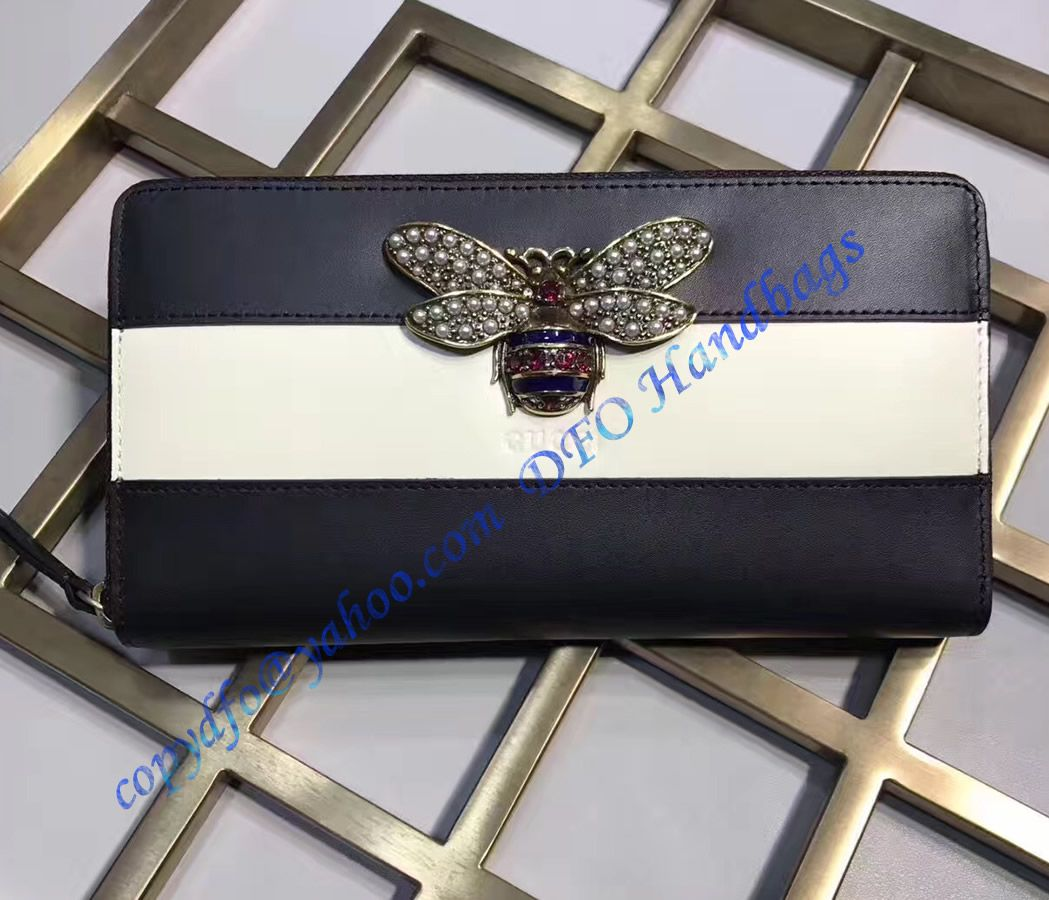 a78fe455b53 Gucci Queen Margaret Black White Leather Zip Around Wallet in 2019 ...