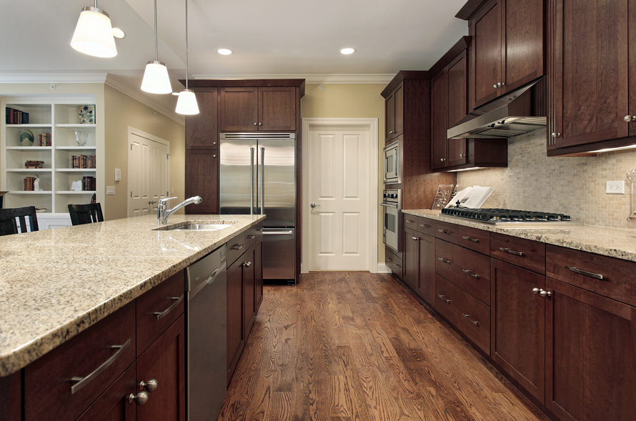 Brown Kitchen With Wood Floors Kitchen Design Kitchen Ideas Kitchen Inspiration Walnut Kitchen Cabinets Wood Floor Kitchen Brown Kitchen Cabinets