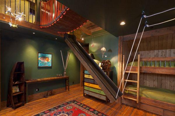 Kinderzimmer holz  Wunderbare Kinderzimmer Kinderhochbett holz grün orange idee ...
