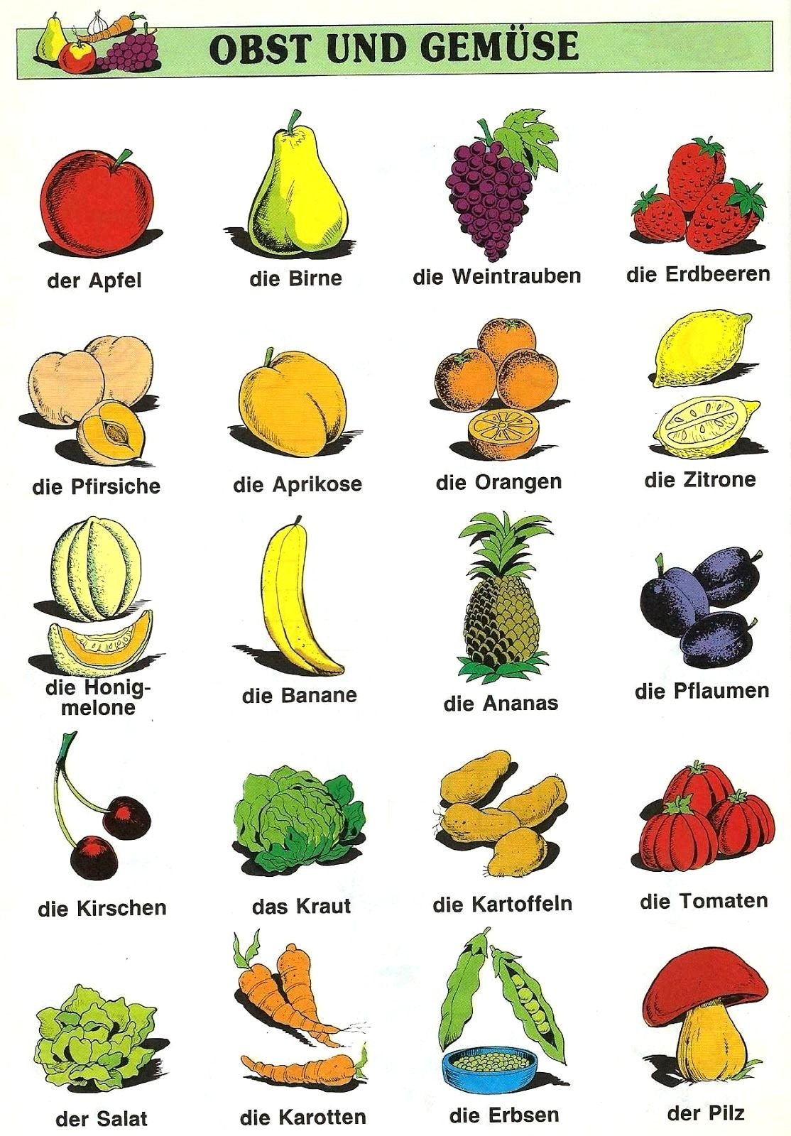 Obst und Gemuse | Deutsch | Pinterest