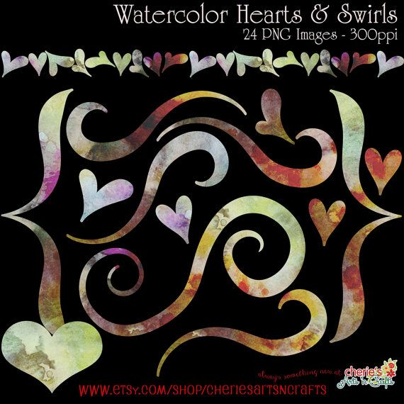 Watercolor Hearts and Swirls Clip Art Set by CheriesArtsnCrafts